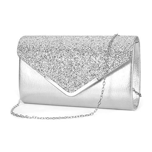Gabrine Womens Shiny Sequins Evening Bag Envelop Bag Handbag Clutch Purse for Wedding Party Prom(Silver)