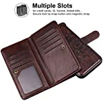 Vofolen Compatible with iPhone 12 Pro Max Case 5G Wallet for Women Girl Detachable Strap 2-in-1 Credit Card Holder 9-Slot Protective Hard Shell Magnetic Leather Folio Pocket Flip Cover Mandala Brown