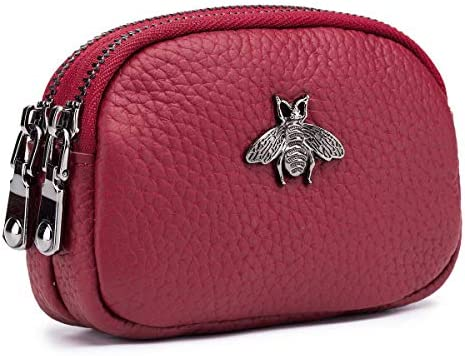imeetu Women Leather Coin Purse 2 Zippered Change Pouch Small Wallet Red product image