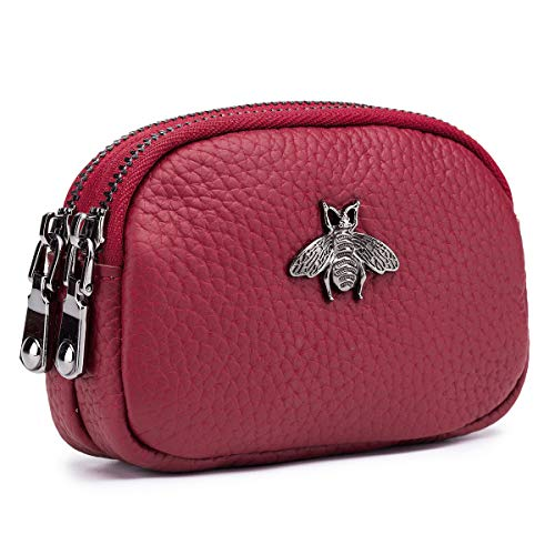 imeetu Women Leather Coin Purse 2 Zippered Change Pouch Small Wallet(Red)