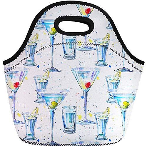 Lunch Tassen Martini Olijf en Kersen Wodka Citroen Schilderen Alcohol Drink Neopreen Lunch Bag Lunchbox Tote Bag Draagbare Picknick Bag Cooler Bag