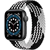 JONWIN Cinturino di ricambio per Apple Watch, in nylon elastico, per iWatch serie 6/5/4/3/2/1, SE, nero/bianco, 42mm/44mm 10(185mm-192mm Handgelenk),