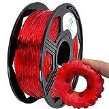 YOYI TPU Filamento 1.75 mm, Impresora 3D Filamento TPU 1.75 mm Filamento flexible 0.8 kg Carrete, Precisión dimensional +/- 0.02 mm (Transparent Red)