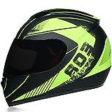 Casco Integral para Moto, Casco Moto Modular Cascos Integrale DOT Aprobado, Full Face Helmet con Visera, Helmets Intégral para Hombres Adultos Mujeres,Green d,L 59~60cm