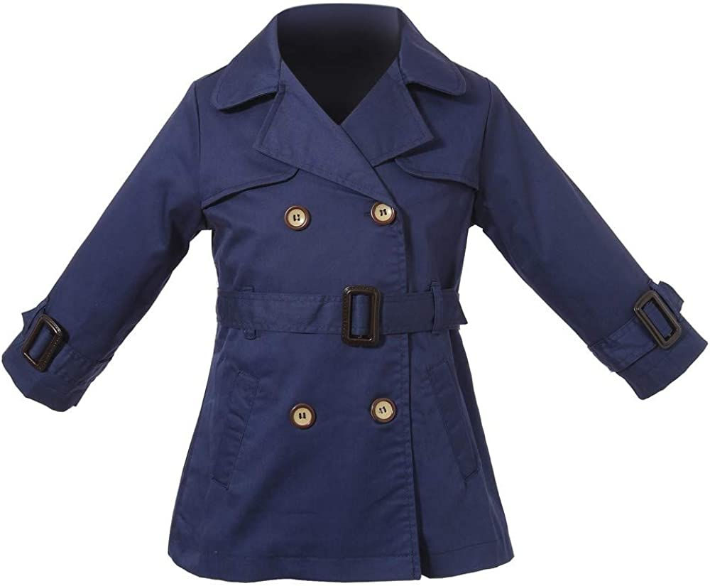 Richie House Girls' Double-Breasted Coat with Belt RH1351
