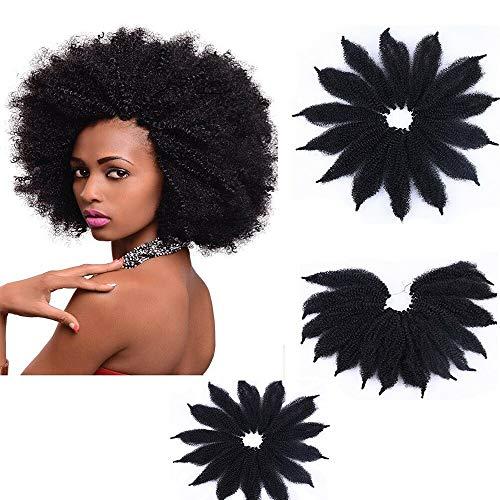 Morningsilkwig 3 Packungen häkeln Marley Zöpfe Kanekalon synthetische Haare weiche Afro Twist synthetische Flechten Haarverlängerungen Hochtemperatur-Faser für Frau 8inch (Marley Braids 1B)