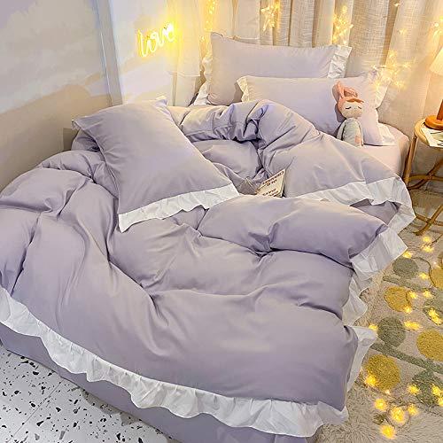 Xiaomizi - Sábanas planas, lujosas sábanas son transpirables, te mantienen fresco y cómodo (funda de edredón: 150 x 200,2 fundas de almohada)