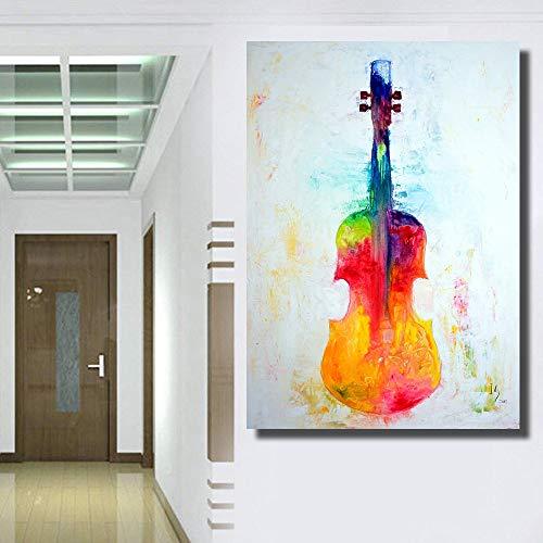 Abstracte moderne muurschildering een afbeelding van de viool olieverfschilderij op canvas muur decor woondecoratie E 45x60cm geen frame