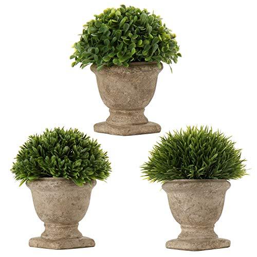 3 Stücke Kunstpflanze Kunstgras Topfpflanze Unechte Künstliche Pflanzen im Topf Plastik Pflanze für Badezimmer Balkon Indoor Deko Büro