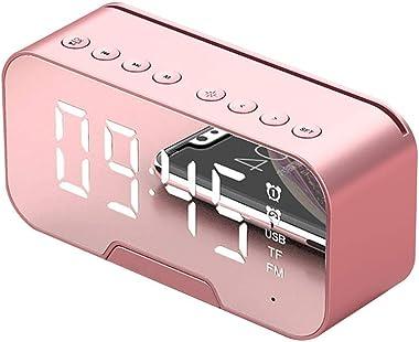 RéVeil NuméRique, RéVeil Multifonction LED Snooze Mirror RéVeil Haut-Parleur Bluetooth avec Radio FM Chevet RéVeil Matin, Hor
