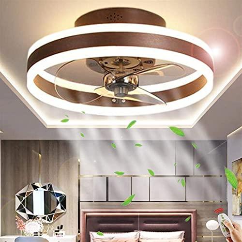XIAOTIAN Ventilador de Techo LED y Control Remoto Ventilador silencioso Luz Creativa Invisible Fans de Techo Iluminación para Sala de Estar [Clase de energía A ++] (Color : Brown, Size : 40cm)