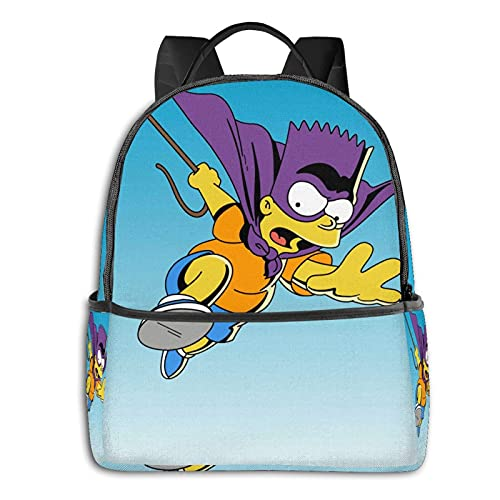 Bart Simpson - Mochila unisex para estudiantes, mochila escolar, estilo informal, clásico, para niños, niñas, 36,8 x 30,5 x 12,7 cm