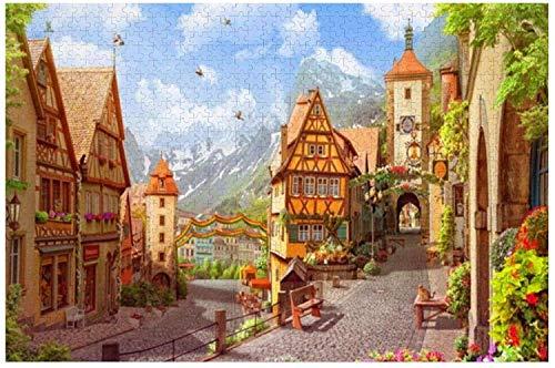 Peaceful Town - Rompecabezas grande de 500 piezas para adultos, niños, regalo de bricolaje, rompecabezas de madera