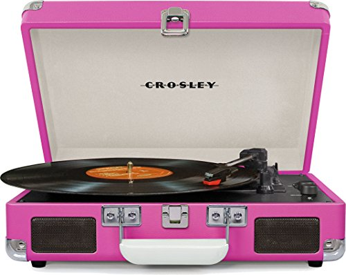 Crosley Cruiser Deluxe Vintage 3-Speed Bluetooth Suitcase Turntable, Pink