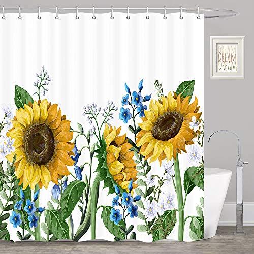DYNH Sonnenblumen-Duschvorhang, gelbe Sonnenblume mit grünen Blättern, gelben Duschvorhang, Bauernhaus-Duschvorhang-Set, Blumen-Duschvorhang für Badezimmer, Stoff-Duschvorhanghaken, 177,8 cm