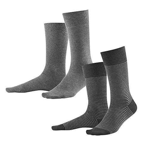 Living Crafts Socken, 2er-Pack 43-46, stone grey/anthra melange