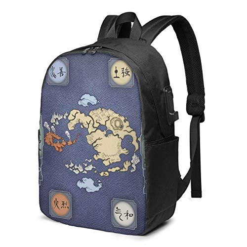 IUBBKI Bolsa para computadora mochila USB Men Women Packable Backpack with USB Charging Port, Water Resistant compartment Work Bag, Book Bags Daypack for Outdoor Running Travel, Map of the World of Av
