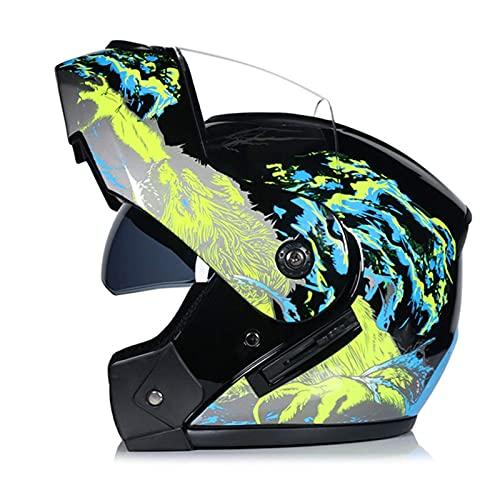 FWZJ Casco Integral para Motocicleta Aprobado por el Dot, Cascos de Motocross modulares de Cara Abierta con Visera Solar  Hombres y Mujeres Adultos de Doble Lente I, XL