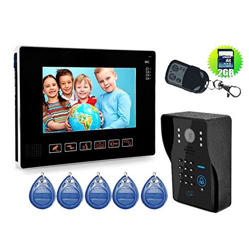 DYWLQ 9 inch smart Timbre Videoportero a prueba de agua Kit de timbre de puerta Timbre de puerta, congrabación en tiempo real, llamada, vigilancia, intercomunicador, manos libres