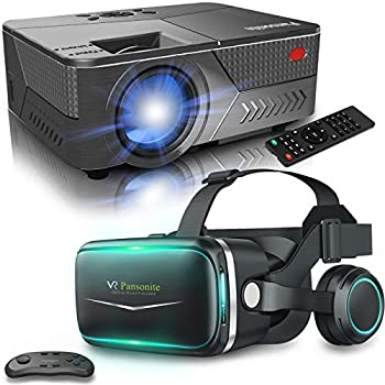 Pansonite Vr Headset and Movie Projector,Mini Projector for Home Theater Suport 1080P and 200   Display,Virtual Reality Headset for VR Games & 3D Movies