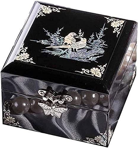 Caja de Joyero Madera, Manualidades Almacenaje de Pequeño Cuenco De Madera Hecho De Madera, para Mujer Diseño De Regalo Souvenir Storage Organizer,Laca Joyería Pintada Crafts (Color : Schwarz)