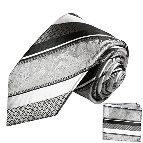 Paul Malone Seidenkrawatten Set 2tlg schmale 6cm Krawatte schwarz silber barock gestreift + Einstecktuch (Normallange 150cm)