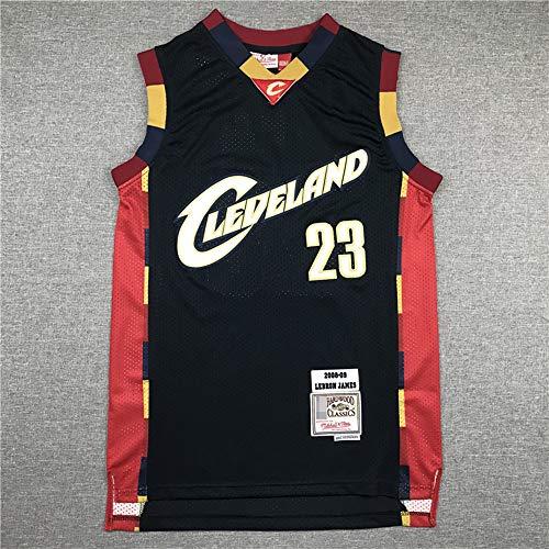 Camisetas De Baloncesto para Hombres, Cavaliers De Cleveland NBA # 23 Lebron James - Camiseta Clásica De Ropa Sin Mangas, Tops De Uniformes De Tela Confort,Negro,L(175~180CM)