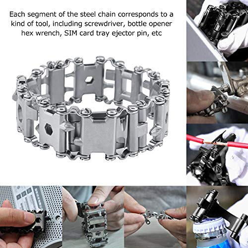 Magnetisches Armband, 29 in 1 Multitools-Armband Reise Tragbares tragbares Multitool-Punk-Armband aus Edelstahl(Weiß)
