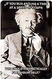 """Blechschilder Lustiger Albert Einstein Spruch """"If You Run"""