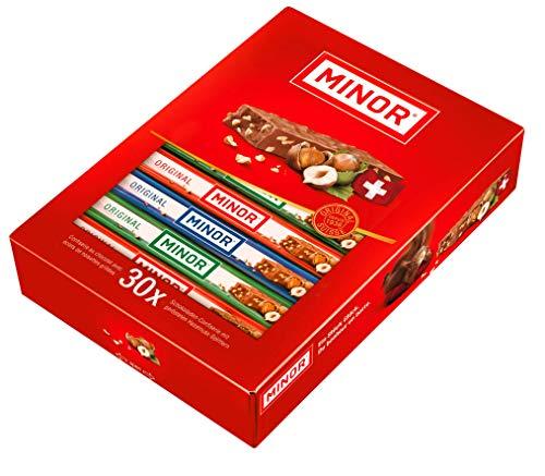 Schweizer Schokolade | MINOR Classic Stengel | 30 Schokoladenriegel á 22g im Thekendisplay | 660g Großpackung | Nougat / Gianduja | Maestrani Milchschokolade | Glutenfrei | Ohne Palmfett