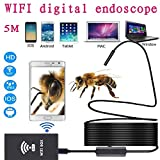 Zhenrong Wreless WiFi Endoscopes Borescopes Cameras for iOS Android Mobile Phones(8MM 2M) (wifi8mm-5m Soft)