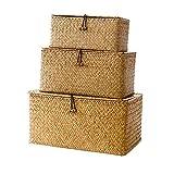 Seagrass De Almacenamiento del Portaequipaje De Lino Almacenamiento Cesta Tejida Organizador Box Multipurpose Recipiente con Tapa 3pcs (s M L)