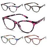 Reading Glasses 5 Pack Cat-eye Blue Light Blocking Glasses for Women, Computer Readers Eyeglasses, Lightweight Fashion Frame, Anti UV Ray/Glare/Eyestrain +2.50