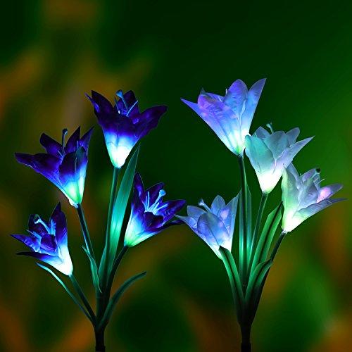 Solare luci da giardino all' aperto 2pezzi denknova ad energia solare luci da giardino con 8fiori di giglio, più colori LED solare luci da giardino per giardino, terrazzo, giardino (viola e bianco)
