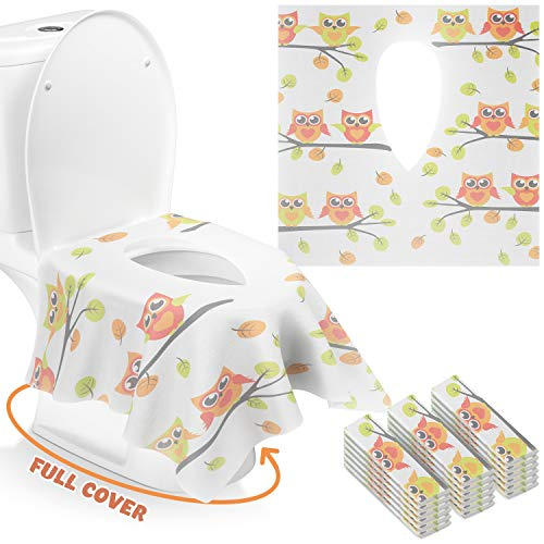 Gimars Xl Large Full Cover Disposable Travel Toilet Potty Seat Covers Individually Wrapped Portable Potty Shields For Adult The Pregnant Kids And Toddler Potty Training 18 Packs Owl Design Buy Online