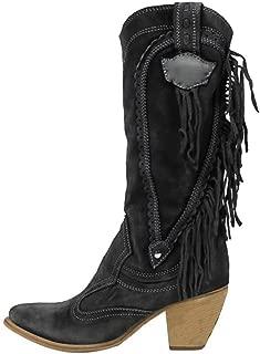 Kauneus Womens Fashion Vintage Mid Tube Boots Tassel Chunky Mid Heel Faux Suede Slip-on Wide Calf Boots Black