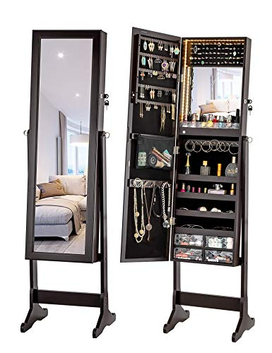 LUXFURNI Armoire à Bijoux à LED avec Miroir verrouillable et Grand Organiseur de Rangement avec tiroirs (Marron)