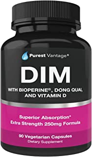 Pure DIM Supplement 250mg Diindolylmethane Plus BioPerine and Dong Quai - Hormone Balance for Women and Men, Hot Flashes Menopause Relief, PCOS, Acne - Estrogen Blocker and Natural Aromatase Inhibitor
