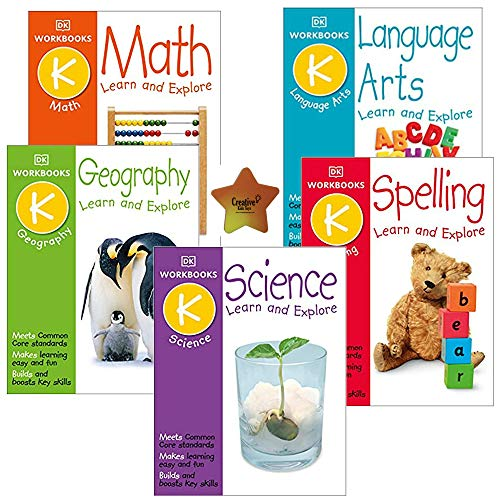DK Kindergarten Workbooks All Subjects Learning Set of 5: Math, Spelling, Science, Geography, Language Arts (K)