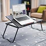 Madeinely Mesa plegable multifuncional para ordenador portátil, de madera, plegable, portátil, plegable, tamaño único, color: negro