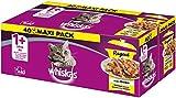 Whiskas 1 + Katzenfutter Ragout – Geflügel-Auswahl in Gelee – Abwechslungsreicher Geschmack durch verschiedene Geschmacksrichtungen – 40...