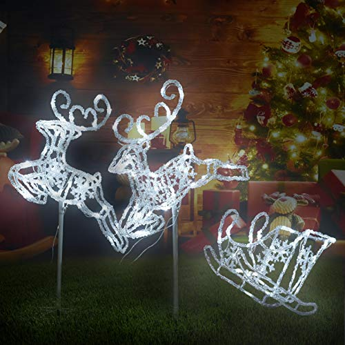 Pre-Lit LED Light Up Reindeer and Sleigh Set, Acrylic Christmas Holiday Figures Decoration for Lawn Garden Indoor Outdoor Use(White)