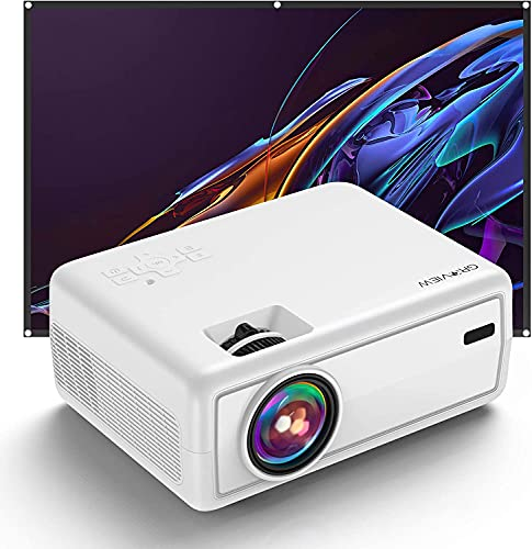 Beamer, GROVIEW Mini Beamer, Nativer 720P HD Beamer, 6000 Lumen, 240\'\' Zoll Display, Unterstützung von 5.0 Bluetooth, Kompatibel mit iPhone/ Android/ TV-Stick/ HDMI/ VGA/ USB/ TV-Box/ Laptop/ DVD/ PS4