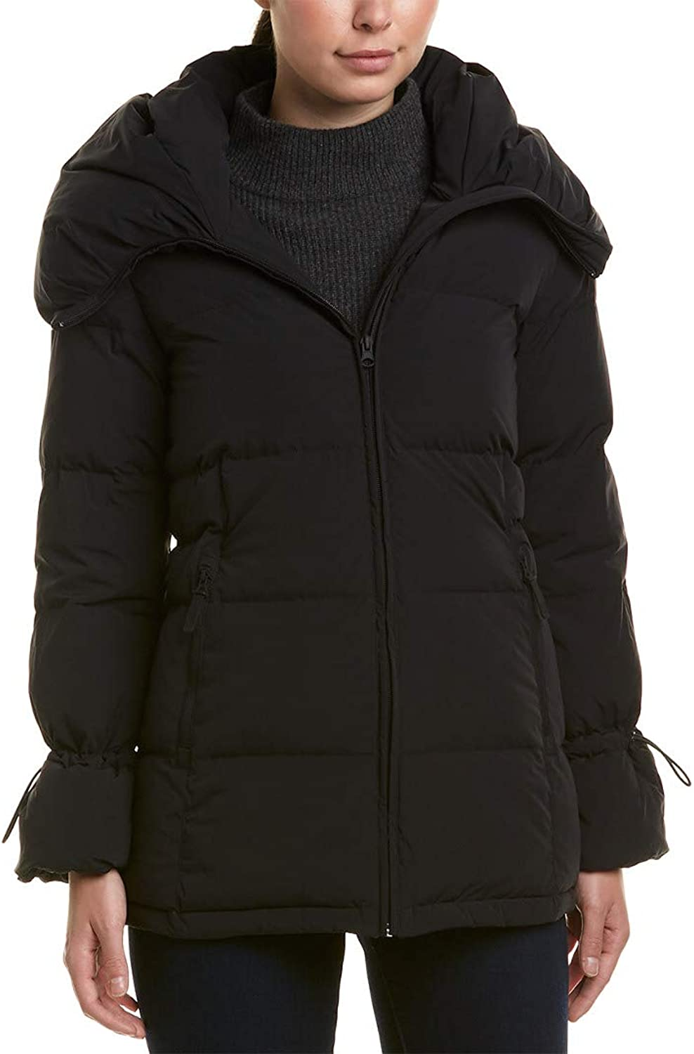Cole Haan Womens Soft Touch Stretch Down Channel Quilt Coat with Oversized Hood