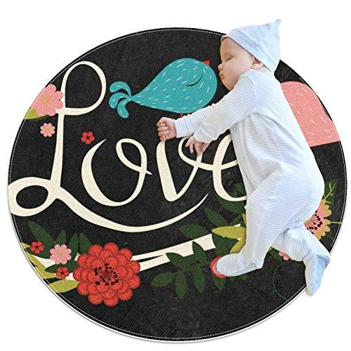 HDFGD Freehand Letters Love Baby speelmatten - Baby kruipmatten voor jongens en meisjes - kinderkamer decor voor het spelen tapijt vloertapijten, 31.5x31.5IN