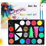 Janolia 18 Colors Pintura Facial, Pintura Corporal con 14 Colores Normales, 2 Fluorescente...