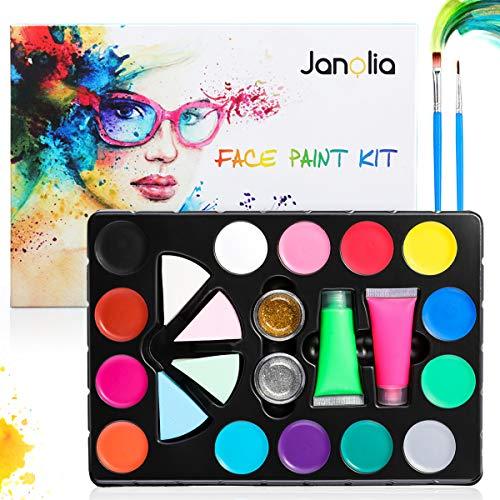 Janolia 18 Colors Pintura Facial, Pintura Corporal con 14 Colores Normales, 2 Fluorescentes y 2 Purpurinas, Maquillaje para Cuerpo Profesional, Colorantes Naturales y Seguros para Niños y Adulto