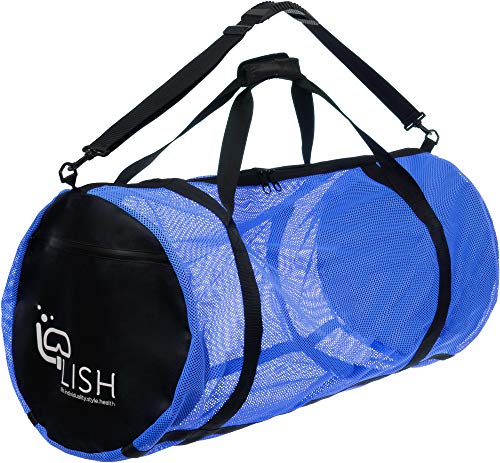 LISH Mesh Dive Bag - XL Multi-Purpose Equipment Diving Duffle Gear Tote, Ideal for Scuba, Snorkeling, Surfing and More (Blue)