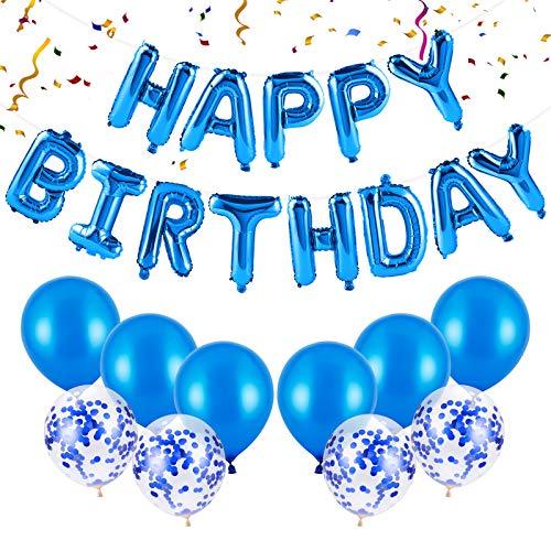 Kiiwah Geburtstagsdeko Happy Birthday Girlande Ballons Blau, Geburtstag Dekoration Set mit Konfetti Luftballons für Mädchen und Jungen Geburtstag Party