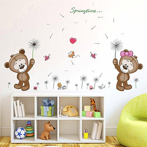 ufengke® Karikatur Teddy der Bär Löwenzahn Wandsticker, Kinderzimmer Babyzimmer Entfernbare Wandtattoos Wandbilder
